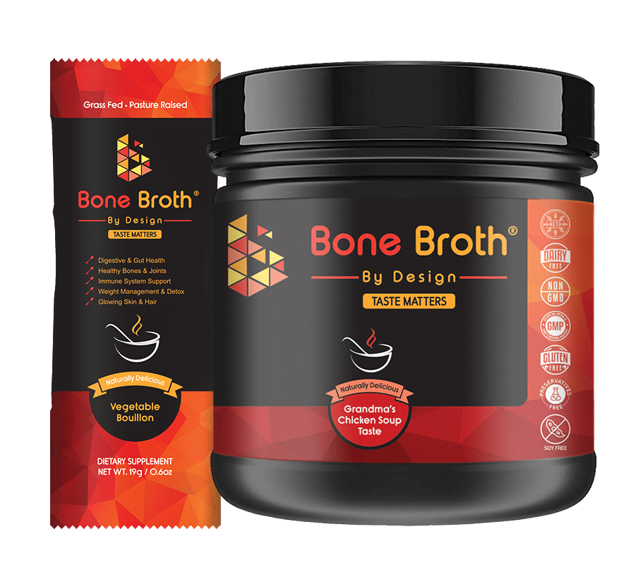 bone broth by design jar grandma's chicken soup taste and sachet vegetable bouillon taste